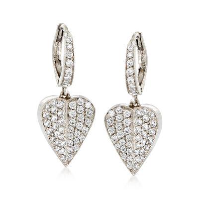 C. 1990 Vintage 1.35 ct. t.w. Diamond Heart Drop Earrings in 18kt White Gold, , default