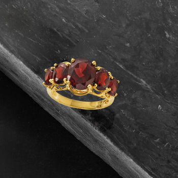 4.50 ct. t.w. Garnet Five-Stone Ring in 18kt Gold Over Sterling, , default