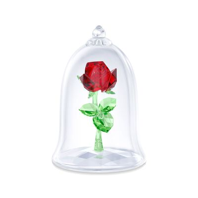 "Swarovski Crystal ""Disney's Enchanted Rose"" Red and Green Crystal Figurine, , default"