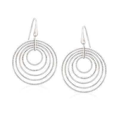"Charles Garnier ""Saturnia"" Large Multi-Circle Drop Earrings in Sterling Silver"