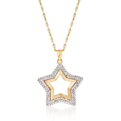 .50 ct. t.w. CZ Star Pendant Necklace in 18kt Yellow Gold, , default