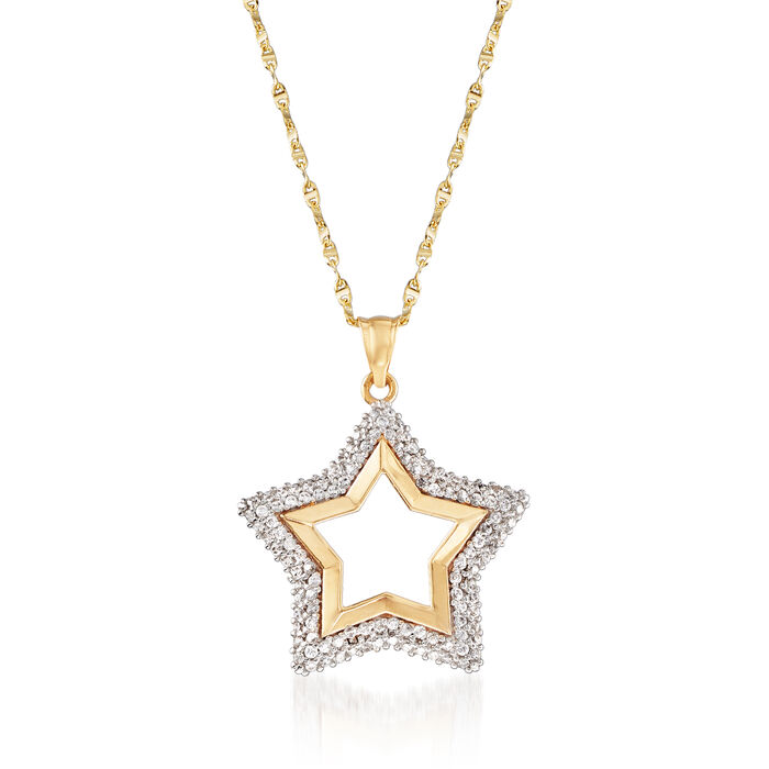 """.50 ct. t.w. CZ Star Pendant Necklace in 18kt Yellow Gold. 18"""""""