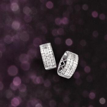 "1.00 ct. t.w. Baguette and Round Diamond Hoop Earrings in Sterling Silver. 1/2"", , default"