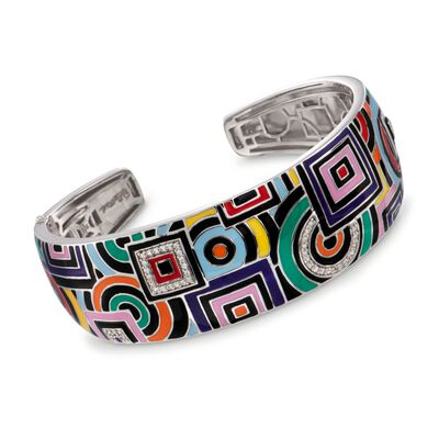 "Belle Etoile ""Geometrica"" Multicolored Enamel and .25 ct. t.w. CZ Cuff Bracelet in Sterling Silver, , default"