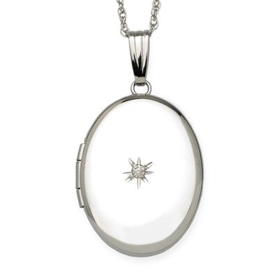 Diamond Accent Oval Locket Necklace in 14kt White Gold, , default