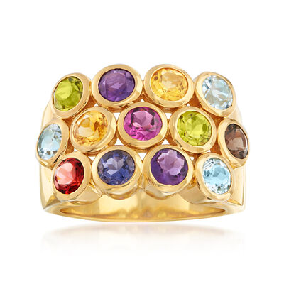 3.20 ct. t.w. Multi-Gemstone Three-Row Ring in 18kt Gold Over Sterling, , default
