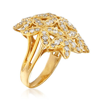 C. 1980 Vintage 1.70 ct. t.w. Flower Bouquet Ring in 18kt Yellow Gold. Size 5.5, , default