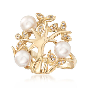 6-6.5mm Cultured Pearl Ring with Diamond Accents in 14kt Yellow Gold
