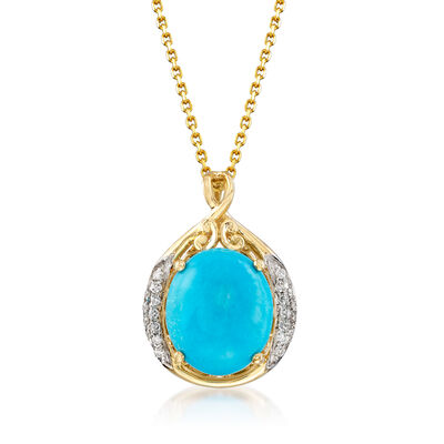 Stabilized Turquoise and .11 ct. t.w. Diamond Pendant Necklace in 14kt Yellow Gold, , default