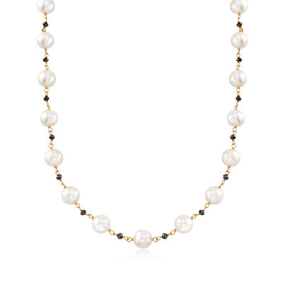 8-9mm Cultured Pearl and 3.65 ct. t.w. Black Diamond Bead Necklace in 14kt Gold, , default