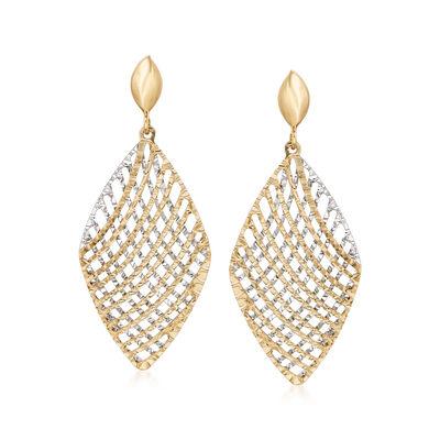 Italian 14kt Two-Tone Gold Cross Wire Diamond-Shaped Drop Earrings, , default