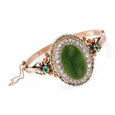 C. 1900 Vintage Green Jadeite Jade and 5.30 ct. t.w. Multi-Stone Bracelet in 14kt Yellow Gold, , default