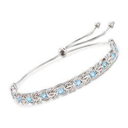 1.90 ct. t.w. Blue Topaz Byzantine Bolo Bracelet in Sterling Silver, , default