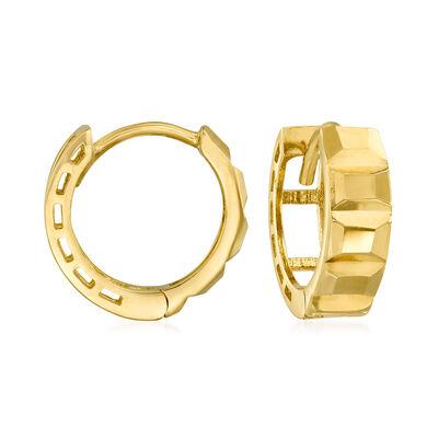 14kt Yellow Gold Textural Huggie Hoop Earrings