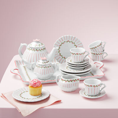 Child's Porcelain Rose Pinstripe Tea Set