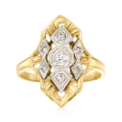 C. 1950 Vintage .20 ct. t.w. Diamond Ring in 14kt Two-Tone Gold