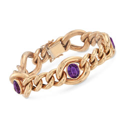 "C. 1990 Vintage 4.50 ct. t.w. Amethyst Link Bracelet in 14kt Yellow Gold. 7.25"", , default"