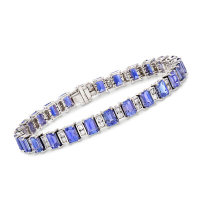 17.00 ct. t.w. Tanzanite and 1.80 ct. t.w. Diamond Tennis Bracelet in 14kt White Gold, , default