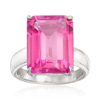 12.00 Carat Pink Topaz Ring in Sterling Silver