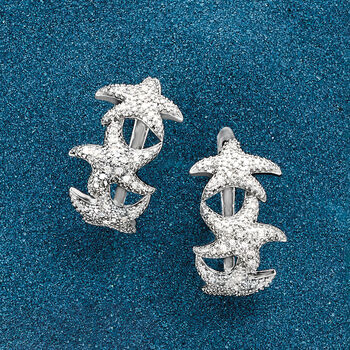 ".20 ct. t.w. Diamond Starfish Hoop Earrings in Sterling Silver. 3/4"""
