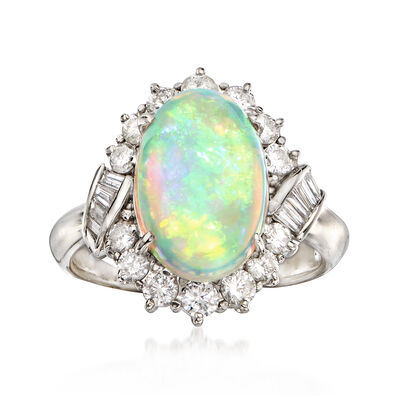 C.1990 Vintage Opal and .75 ct. t.w. Diamond Ring in 18kt White Gold, , default