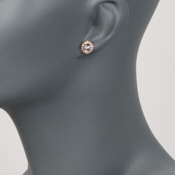 "Swarovski Crystal ""Angelic"" Crystal Halo Stud Earrings in Rose Gold Plate, , default"