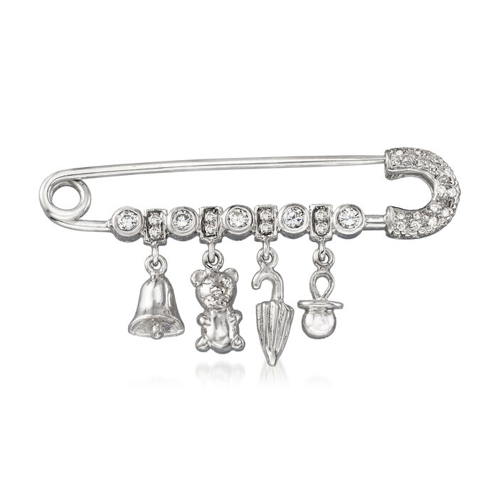 C. 1990 Vintage .35 ct. t.w. Diamond Charm Safety Pin in 18kt White Gold, , default