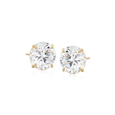 8.00 ct. t.w. CZ Stud Earrings in 14kt Yellow Gold