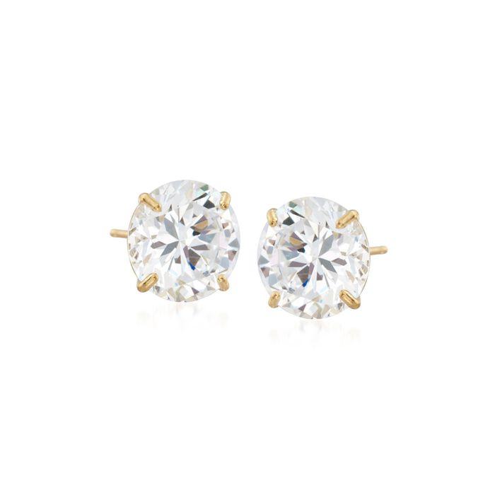 8.00 ct. t.w. CZ Stud Earrings in 14kt Yellow Gold