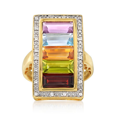 5.20 ct. t.w. Multi-Gemstone Rainbow Ring in 18kt Gold Over Sterling , , default