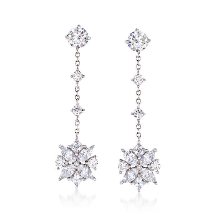 3.00 ct. t.w. Multi-Cut CZ Floral Drop Earrings in Sterling Silver, , default