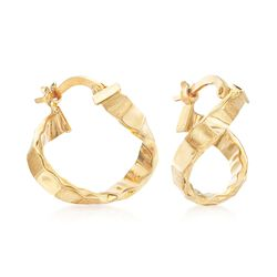"Italian 14kt Yellow Gold Twisted Hoop Earrings. 5/8"", , default"