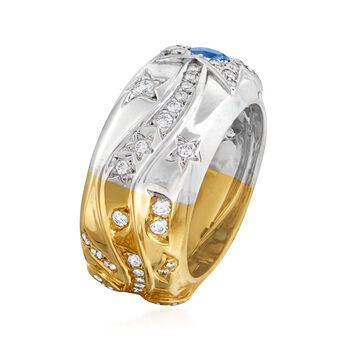 C. 1980 Vintage Chanel 1.05 ct. t.w. Blue and Yellow Sapphire and .25 ct. t.w. Diamond Star Ring in 18kt Two-Tone Gold. Size 5, , default