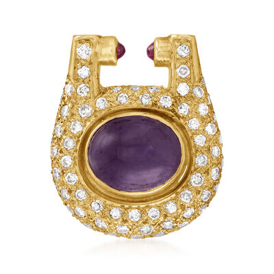 C. 1980 Vintage 4.30 Carat Amethyst and 1.45 ct. t.w. Diamond Slide Pendant with .12 ct. t.w. Pink Tourmaline in 18kt Yellow Gold