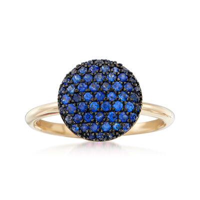 .50 ct. t.w. Sapphire Circle Cluster Ring in 14kt Yellow Gold, , default