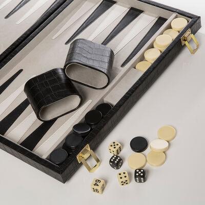 "Brouk & Co. ""New School"" Black Crocodile Faux Leather Backgammon Set"