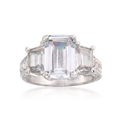 5.35 ct. t.w. CZ Three-Stone Ring in Sterling Silver, , default