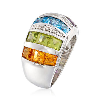 5.80 ct. t.w. Multi-Gemstone Dome Ring with Diamond Accents in Sterling Silver. Size 6