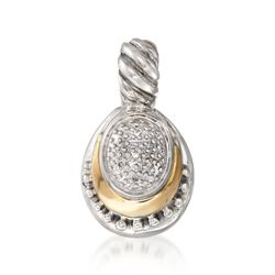 Sterling Silver and 18kt Yellow Gold Multi-Textured Pendant With Diamond Accents, , default