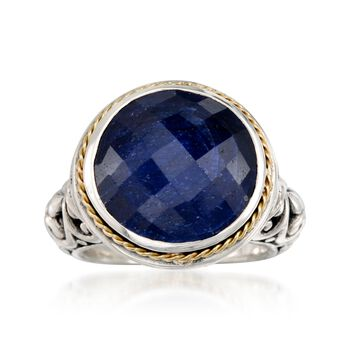 Balinese 15.00 Carat Sapphire Ring in 14kt Yellow Gold and Sterling Silver, , default