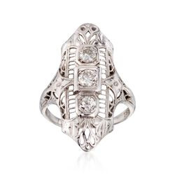 C. 1950 Vintage .35 ct. t.w. Diamond Dinner Ring in 18kt White Gold. Size 3.75, , default