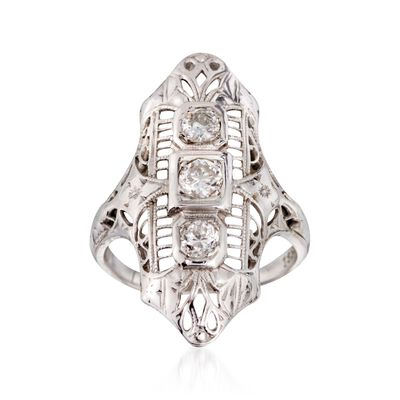 C. 1950 Vintage .35 ct. t.w. Diamond Dinner Ring in 18kt White Gold, , default