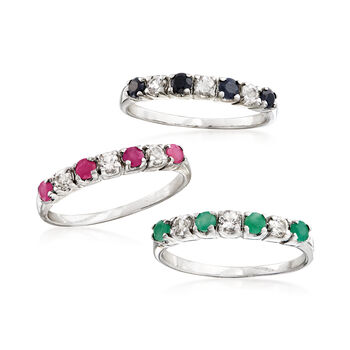 1.50 ct. t.w. Multi-Gem Jewelry Set: Three Rings in Sterling Silver