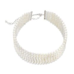 "4-5.5mm Shell Pearl Multi-Row Wide Necklace in 14kt White Gold Over Sterling Silver. 13"", , default"