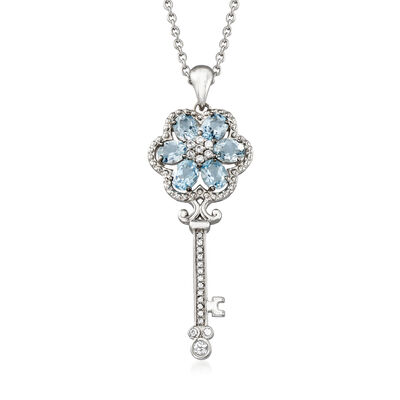 2.40 ct. t.w. Aquamarine and .40 ct. t.w. White Zircon Key Pendant Necklace in Sterling Silver, , default