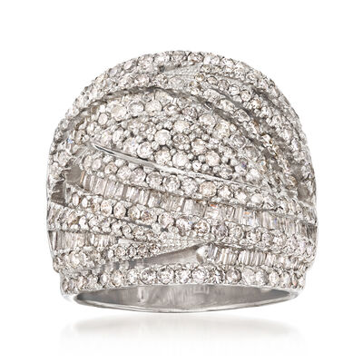 3.00 ct.t.w. Diamond Multi-Row Ring in Sterling Silver, , default