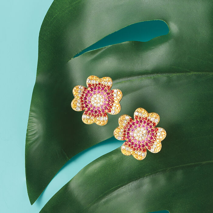 5.50 ct. t.w. Multicolored Sapphire and .26 ct. t.w. Diamond Floral Earrings in 18kt Gold