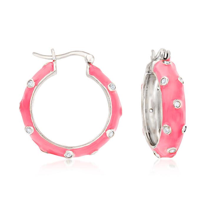 .30 ct. t.w. White Topaz and Coral Enamel Hoop Earrings in Sterling Silver