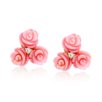 Pink Carved Coral and .20 ct. t.w. White Topaz Floral Earrings in 14kt Gold Over Sterling, , default