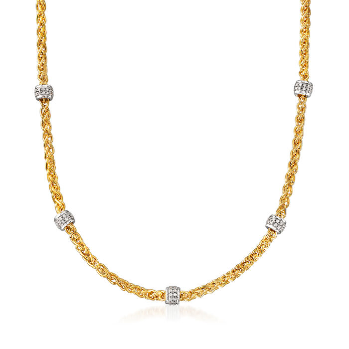 """Charles Garnier """"Paolo"""" 1.08 ct. t.w. CZ Beaded Station Necklace in Sterling Silver and 18kt Gold Over Sterling"""
